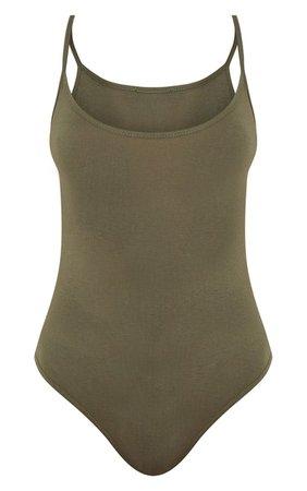 Steffany Khaki Scoop Back Bodysuit - Tops | PrettyLittleThing USA