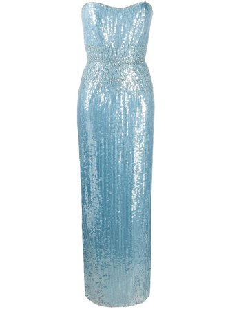 Jenny Packham Strapless Sequin Embellished Gown - Farfetch