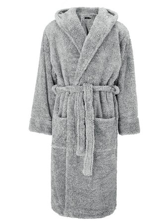 John Lewis & Partners High Pile Hooded Robe, Grey at John Lewis & Partners
