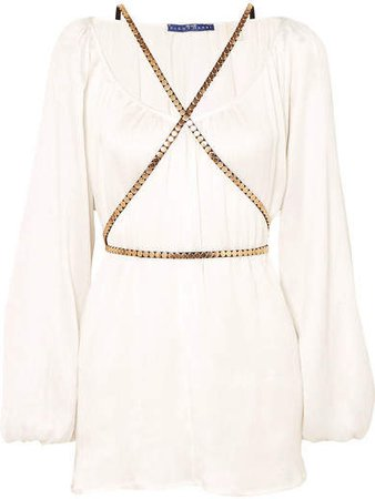 Elena Makri - Arcadia Plissé-silk Mini Dress - White