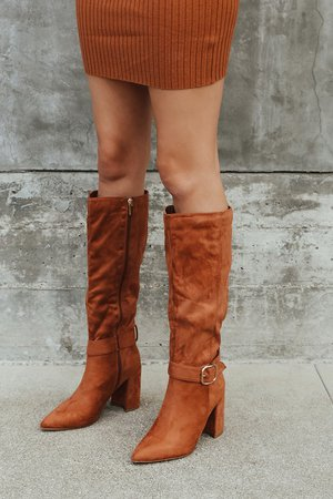 Cognac Suede Boots - Knee High Boots - Suede Pointed-Toe Boots - Lulus