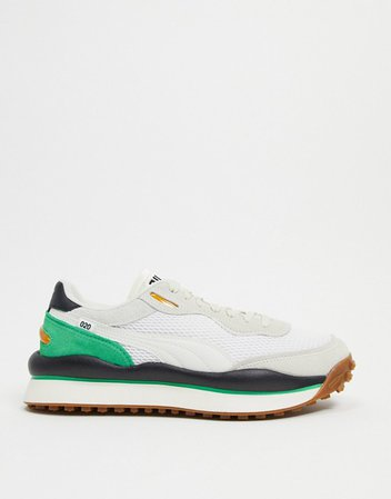Puma Style Rider sneakers in white and green   ASOS