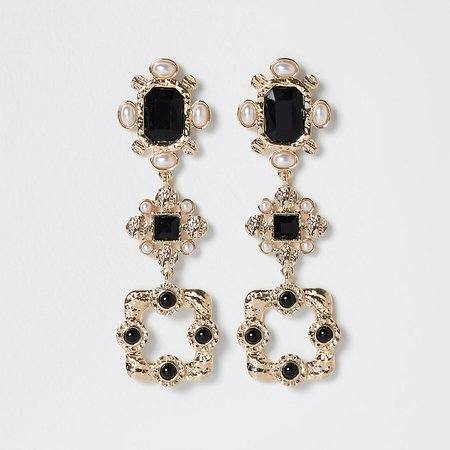 Gold colour statement stone drop earrings | River Island