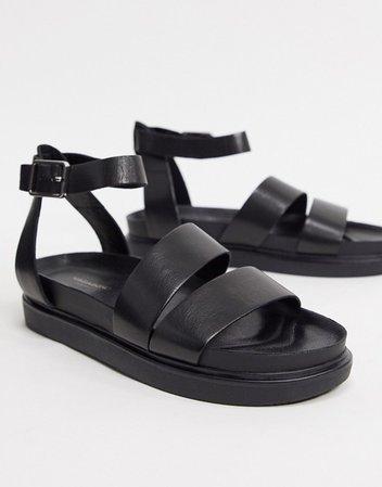 Vagabond Erin double strap leather flat sandals in black   ASOS
