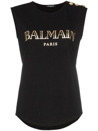 Balmain Sleeveless logo-print T-shirt - Farfetch