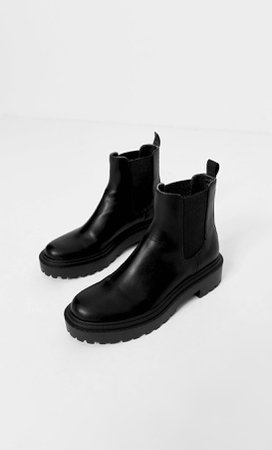 black Flat ankle boots with track soles - Women's Just in   Stradivarius United States