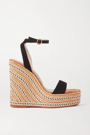 Lucita Suede Espadrille Wedge Sandals - Black