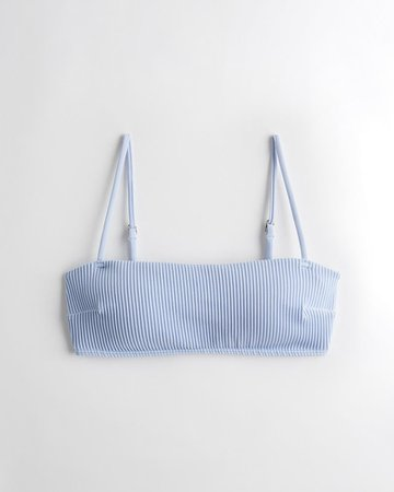 Girls Ribbed Square-Neck Bikini Top | Girls New Arrivals | HollisterCo.com blue