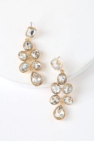 Chic Gold Rhinestone Earrings - Earrings - Gold Earrings