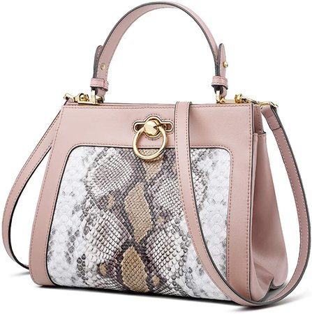 Amazon.com: Leather Handbags for Women, Genuine Leather Snakeskin Ladies Top-handle Bags with Adjustable Shoulder Strap Women's Small Crossbody Bags Women's Mini Messenger Satchel Purse and Handbags (Pink): Shoes