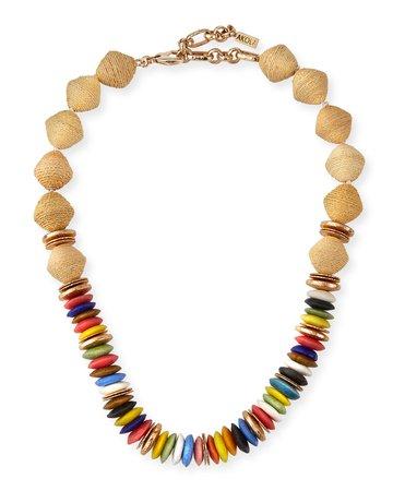 Akola Raffia and Rainbow Glass Short Necklace   Neiman Marcus
