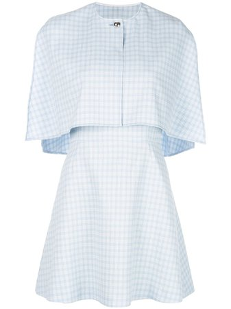 Blue Sara Battaglia Cape Style Mini Dress For Women | Farfetch.com