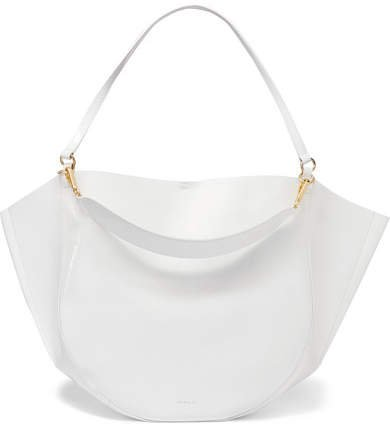 Wandler - Mia Glossed Textured-leather Tote - White