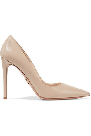 Prada | Glossed textured-leather pumps | NET-A-PORTER.COM