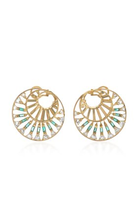 Carol Kauffmann 18K Gold, Topaz and Emerald Earrings