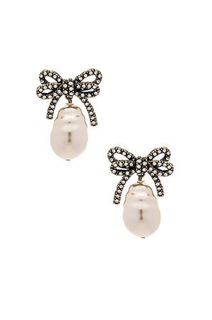 Large Bow Pearl Earrings