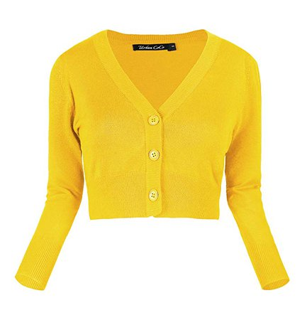 Urban CoCo Women's Cropped Cardigan V-Neck Button Down Knitted Sweater 3/4 Sleeve (S, Lemon Yellow) at Amazon Women's Clothing store: