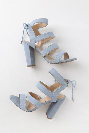 Sexy Blue Grey Heels - Vegan Suede Heels - Caged Heels