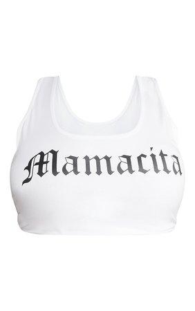 Plus White Printed Mamacita Crop Top | PrettyLittleThing USA