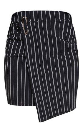 Black Wrap Pinstripe Mini Skirt | PrettyLittleThing USA