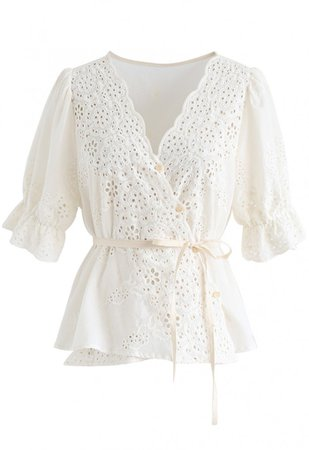 Buttoned Surplice Neck Embroidered Eyelet Top - NEW ARRIVALS - Retro, Indie and Unique Fashion