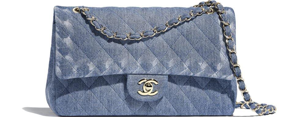 Bolsa Clássica, tweed & metal dourado, rosa, bege & laranja - CHANEL