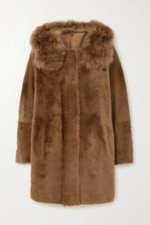 Reversible Hooded Shearling Coat - Brown