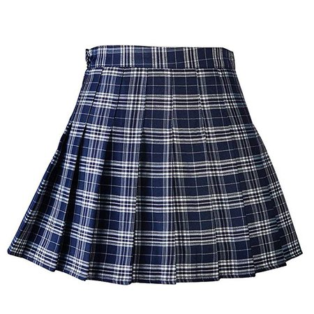 Blue plaid school skirt