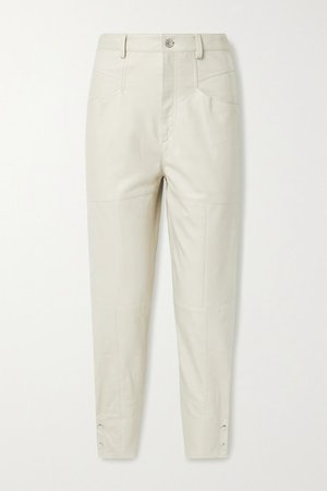 Xiamao Leather Tapered Pants - Ivory
