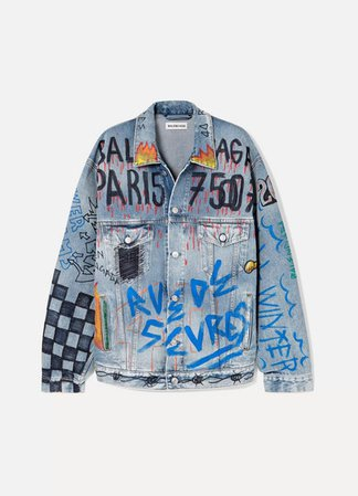 Oversized Printed Denim Jacket - Blue