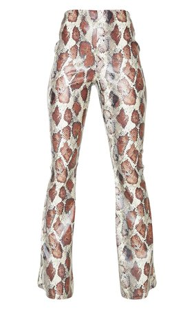 Multi Snake Faux Leather Flared Trousers   PrettyLittleThing