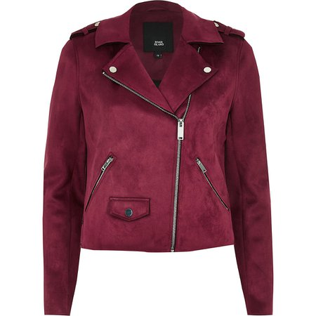 Burgundy faux suede biker jacket - Jackets - Coats & Jackets - women