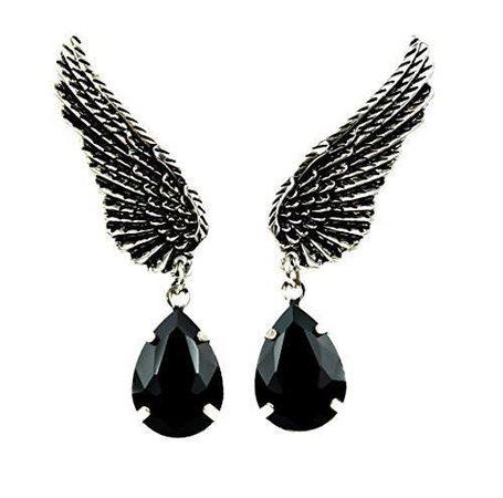Wings w/ Black Stone Gothic Earrings