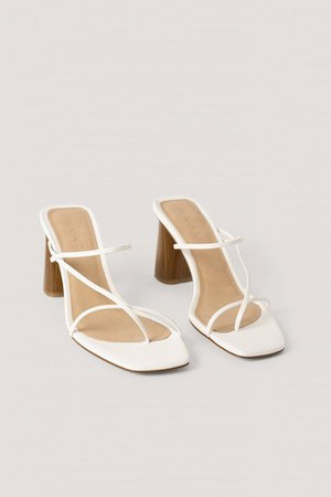 Fine Strappy Block Heel Sandals White | na-kd.com