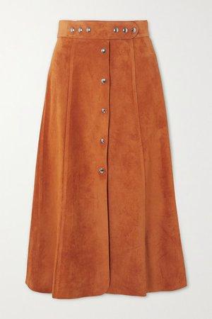 Prada | Suede midi skirt | NET-A-PORTER.COM