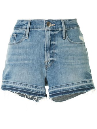 FRAME Raw Hem Denim Shorts - Farfetch