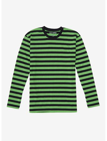 Green & Black Stripe Long-Sleeve T-Shirt