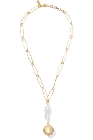 Mounser | Pagoda gold-plated pearl necklace | NET-A-PORTER.COM