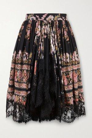 Lace-trimmed Floral-print Silk-crepon Mini Skirt - Black