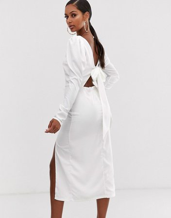 John Zack long sleeve midaxi dress with open back in white | ASOS
