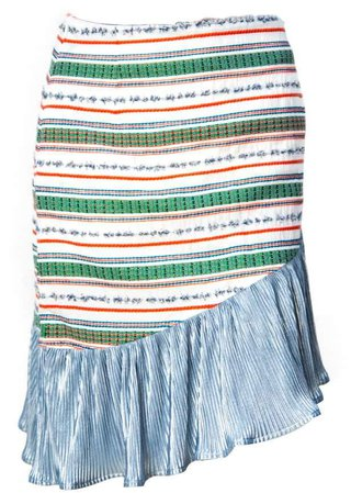 Vivienne Hu Green Skirt With Asymmetric Fringe Detail
