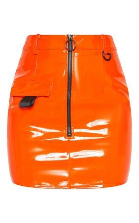 Neon Orange Vinyl Zip Detail Mini Skirt | PrettyLittleThing