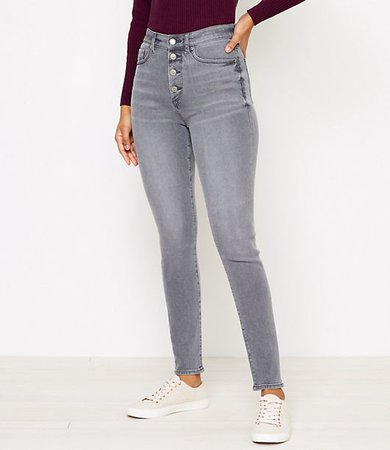 High Rise Skinny Jeans in Silver Grey Wash