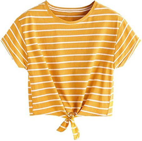 Romwe Women's Knot Front Cuffed Sleeve Striped Crop Top Tee T-Shirt at Amazon Women's Clothing store