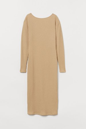 Ribbed Jersey Dress - Beige
