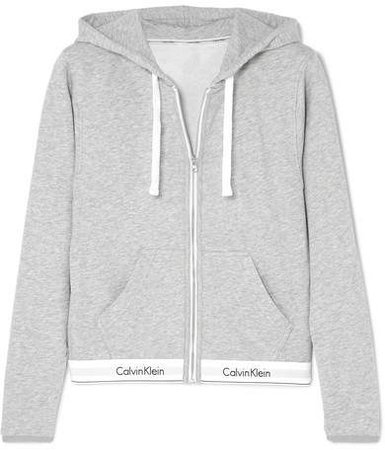 Cotton-blend Jersey Hoodie - Gray