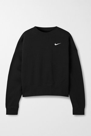 Black Oversized embroidered cotton-blend jersey sweatshirt | Nike | NET-A-PORTER