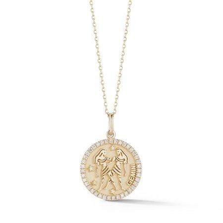 14kt Gold Small Gemini Zodiac Coin – MATEO