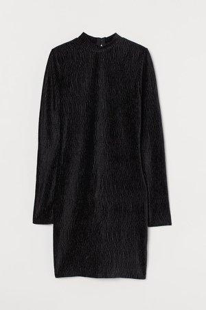 Crinkled Velour Dress - Black