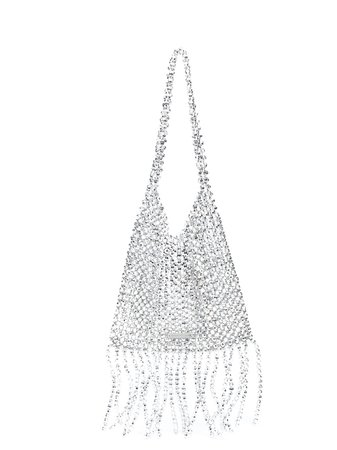 Loeffler Randall Cher Beaded Shoulder Bag CHERMB Silver | Farfetch